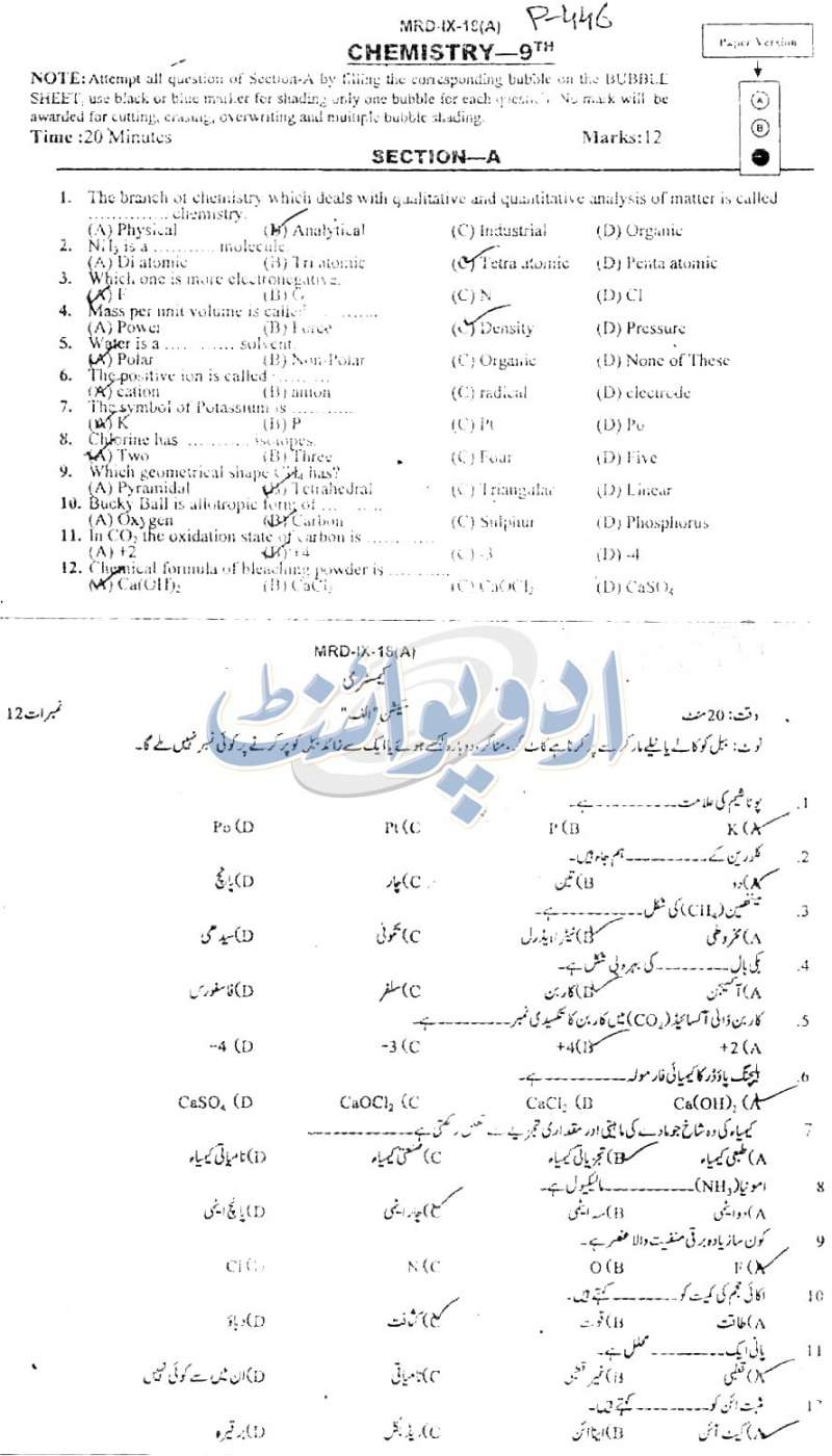 BISE Mardan Chemistry, Objective Part Paper Annual Part-I