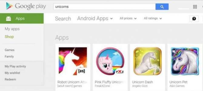 a blank search in Google Play Store proves unicorn apps do exist