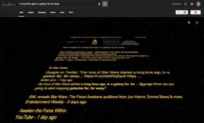 Google Star Wars The Force Awakens Easter egg