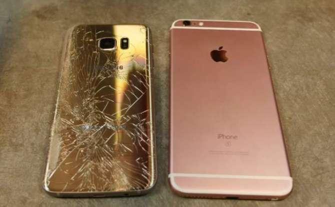 Galaxy S7 edge vs iPhone 6s Plus drop test