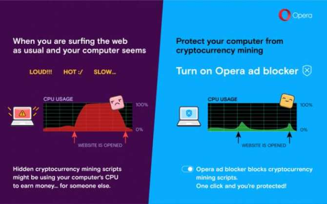 Opera 50 now comes with built-in protection against cryptojacking