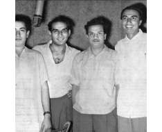 a young photo of yash chopra with mahendra kapoor, sahir ludhiyaanvi and n dutta ..during the working on dhool ka phul