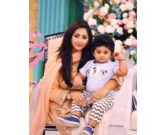 with her cute son in the morning show .