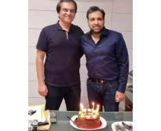 wishing the ace producer of asad qureshi a very happy birthday seen in the picture celebrating his birthday with abdullah kadwani. wishing him all the best for the future