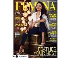thank you femina... queen of decor is our latest cover girl. photographer deu creative management hair and makeup stylist location courtesy gauri khan designs, juhu white shirt and trousers khans own heels neckpiece zoya