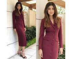 all set for in this beautiful wine-hued coat dress by shoes jewels stylist make up hair managed by