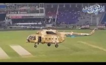 Pakistan Army Zindabad, People Chanting Slogans at Qaddafi Stadium when Helicopter came to Dry Pitch