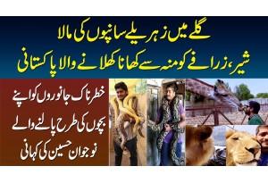 Galay Me Saanp Ki Maala, Lion Aur Zarafa Ko Apne Mun Se Khana Khilane Wala Pakistani